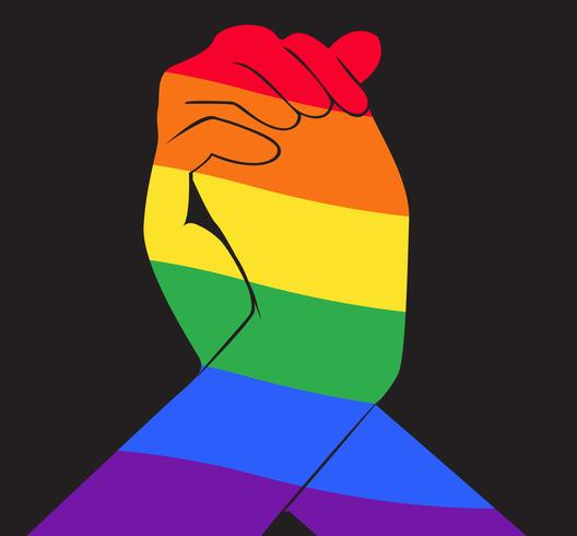 hand holding another hand rainbow flag LGBT symbol.