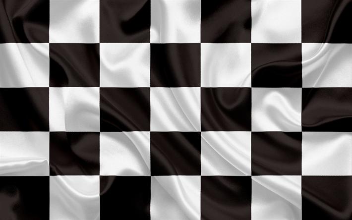 Download wallpapers Checkered Flag, black white flag, finish.
