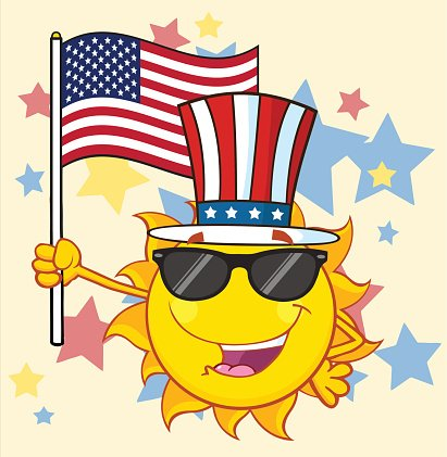 Cool Sun Holding USA Flag With Background Clipart Image.