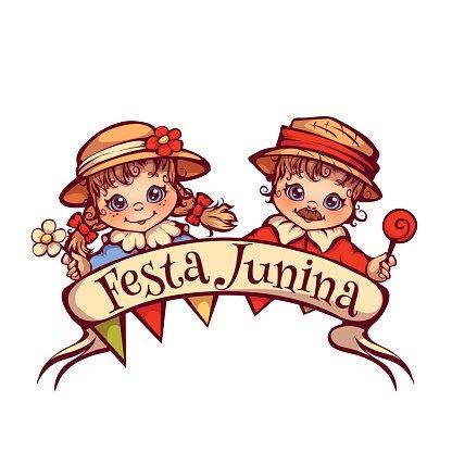 Brazilian Festa Junina Party girl and boy with ribbon banner.