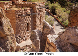 Stock Photo of Bandelier National Monument New Mexico Native.