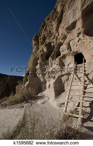 Stock Photo of cliff dwellings at Bandelier New Mexico k1595682.