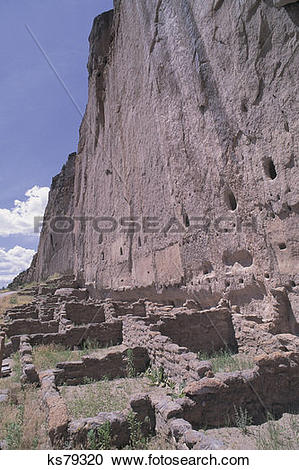 Stock Photography of Bandelier National Monument, Longhouse, New.
