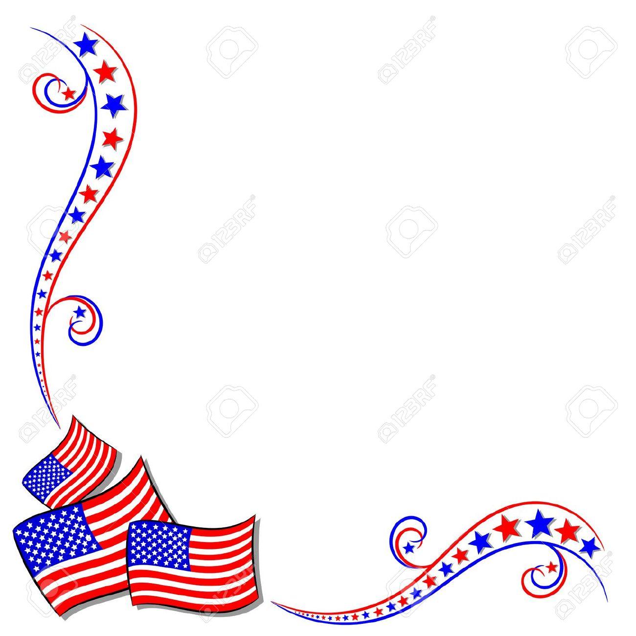EE.UU. Bandera Americana Y Las Estrellas Marco De La Frontera Con.