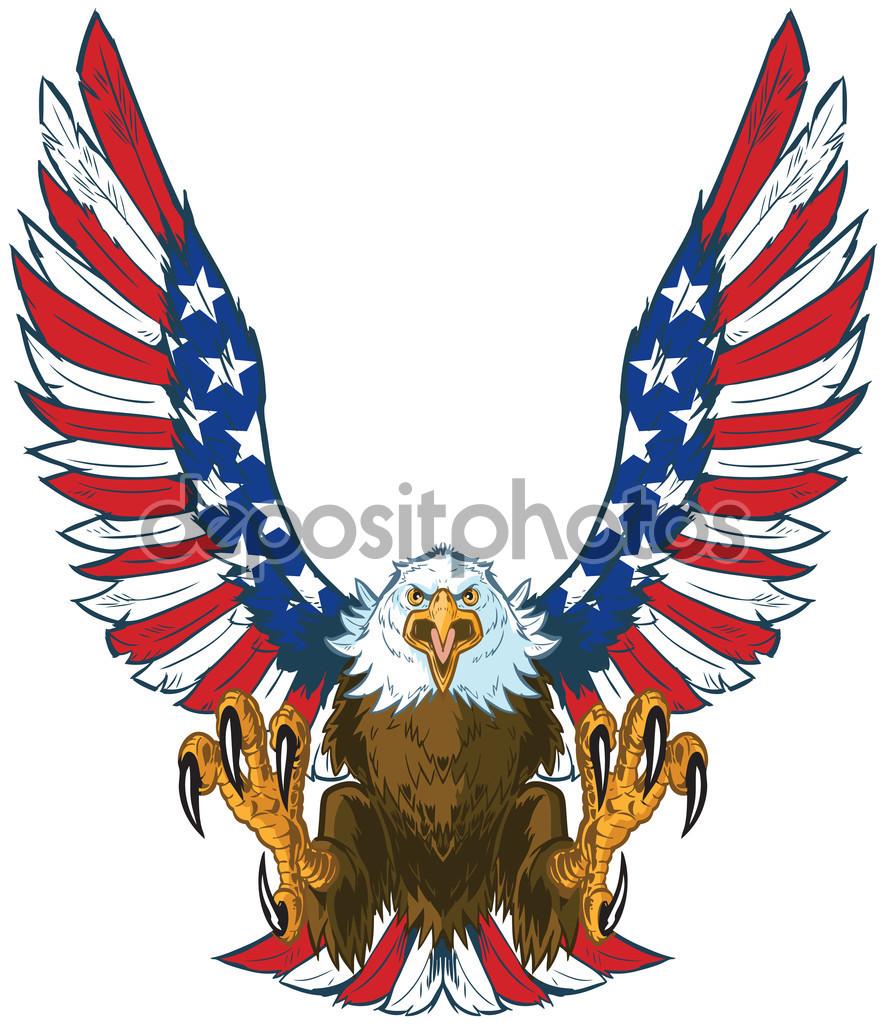 Screaming Eagle con bandera americana alas Vector Clip Art.