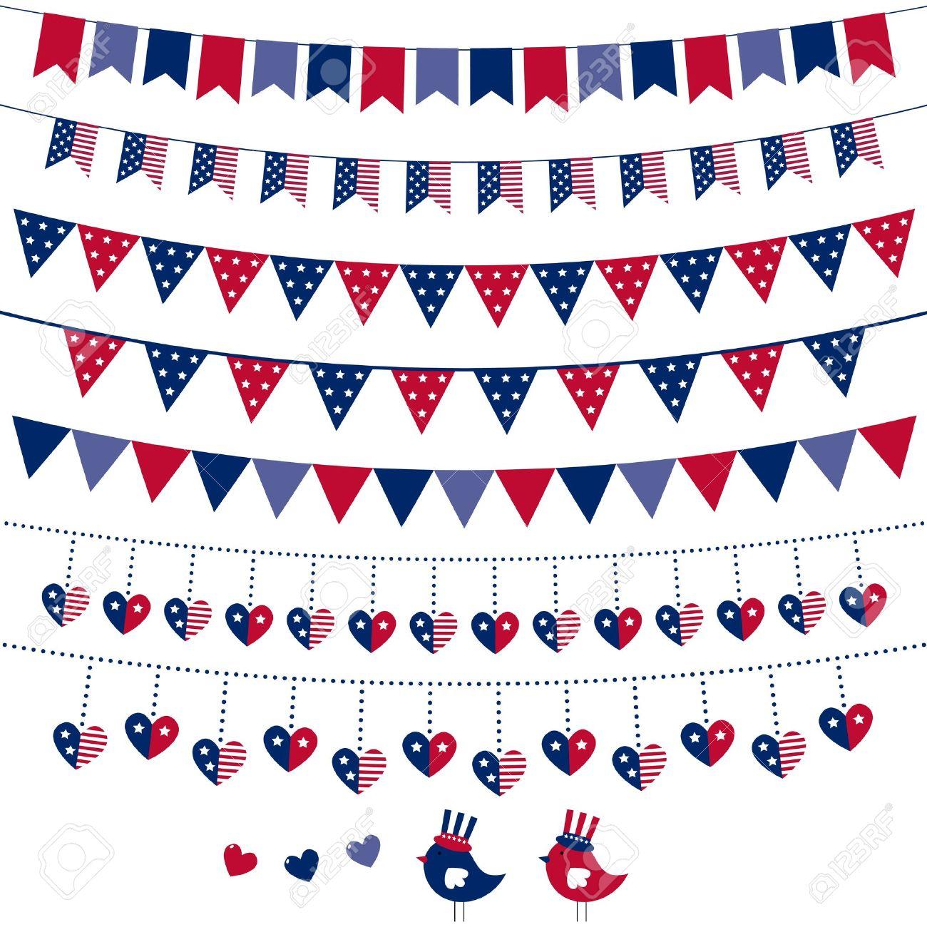 Tema De La Bandera Americana Banderines Conjunto Ilustraciones.