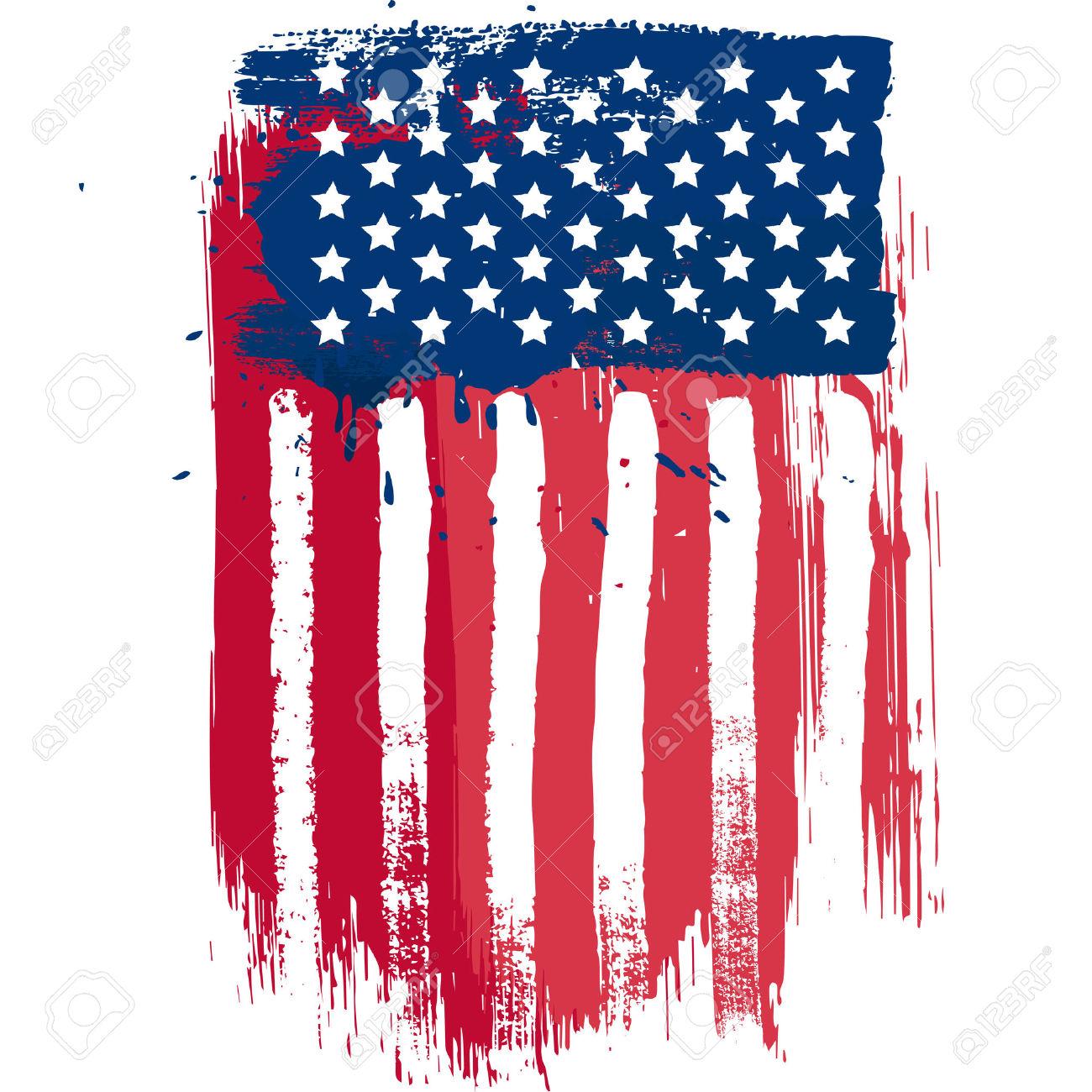 Bandera Americana Composición Vector Vertical En El Estilo Grunge.