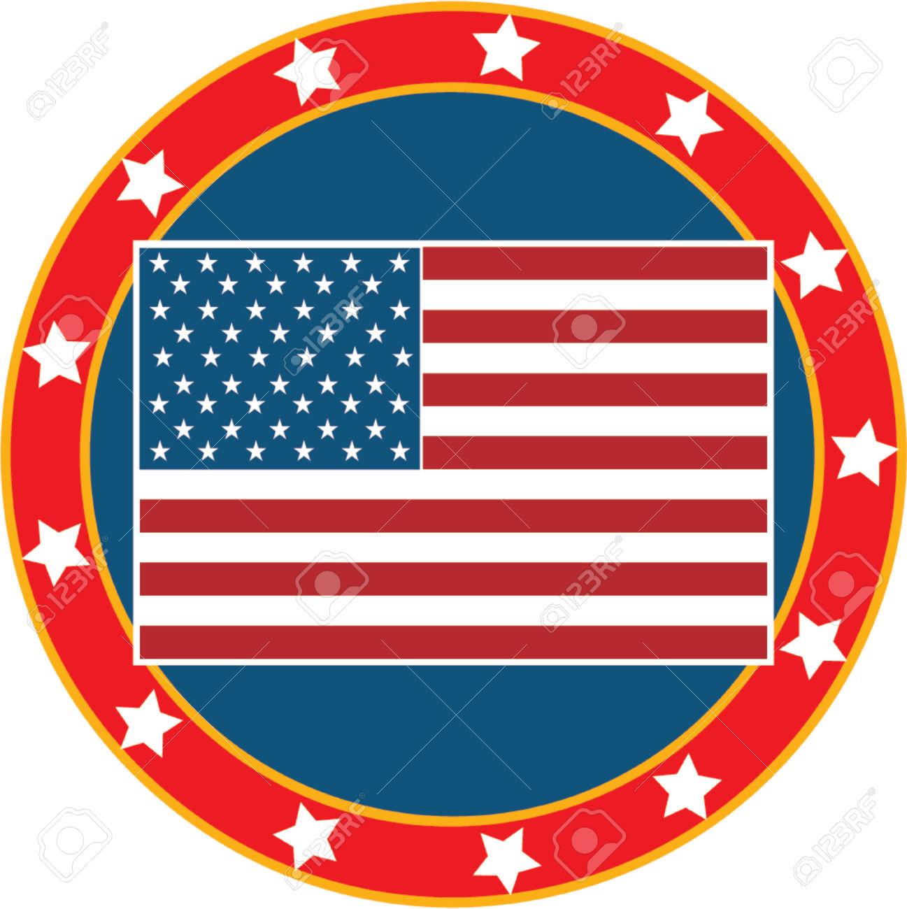 Bandera Americana En Un Fondo Blanco Con 50 Estrellas.