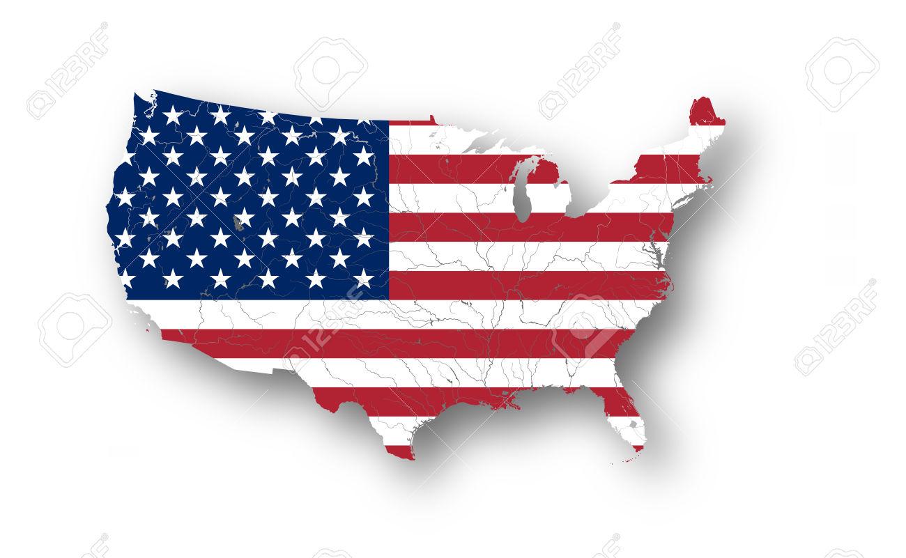 Mapa De Los Estados Unidos De América Con La Bandera Americana.