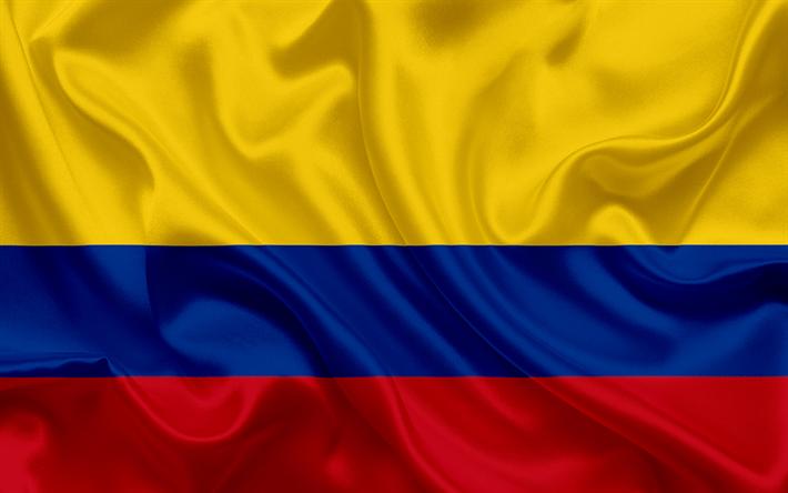 Scarica sfondi Colombiano bandiera, Colombia, Sud America, seta.