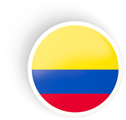 HD Round Concave Icon Ilration Of Flag Colombia.