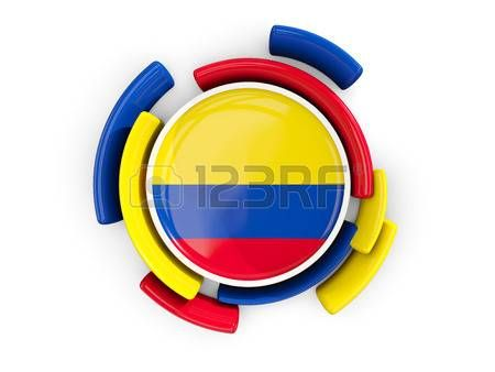 Bandera redonda de colombia con el patrón de color aislado.