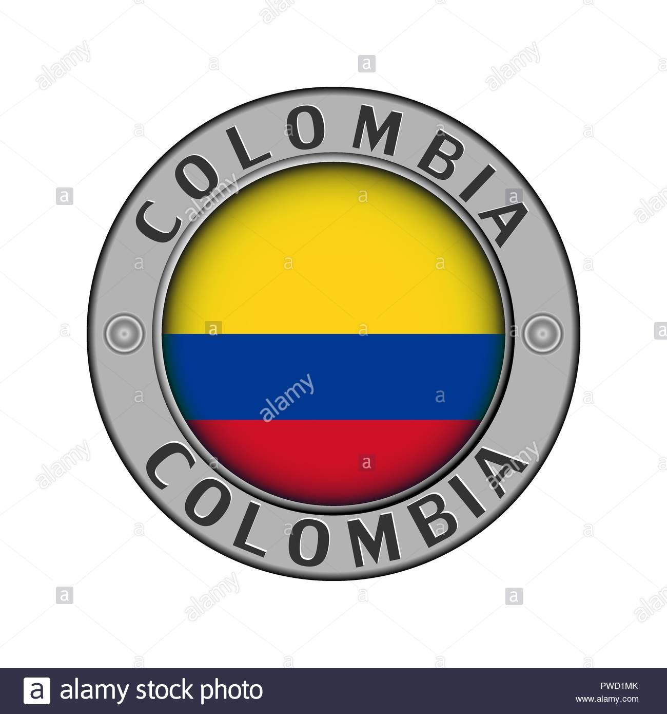 Medallón de metal redondo con el nombre del país de Colombia y una.