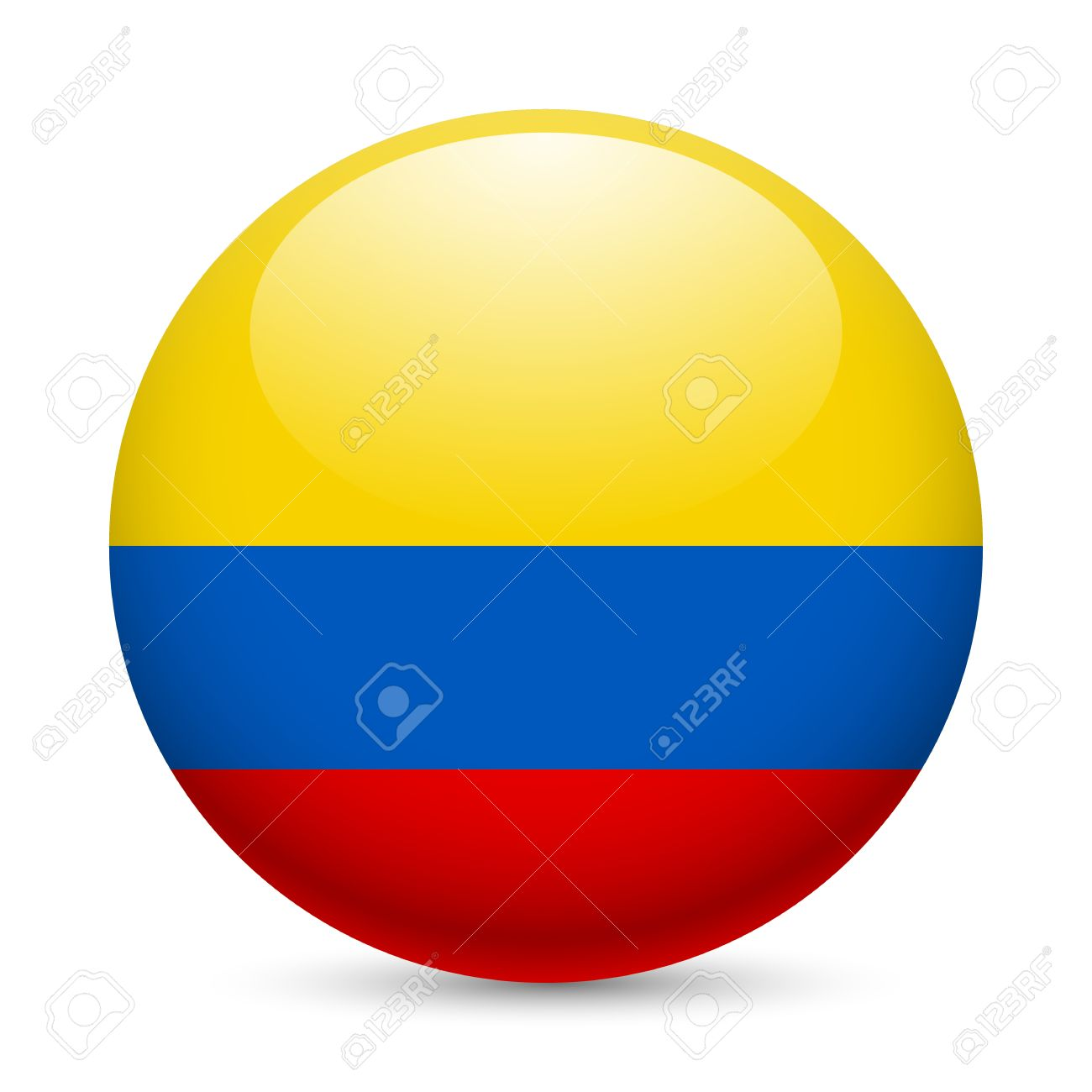 Bandera de Colombia como redonda icono brillante. Botón con la bandera de  Colombia.
