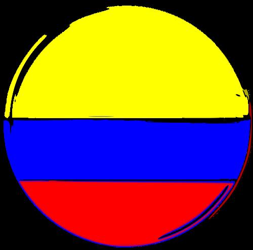 Bandera colombiana forma redonda.