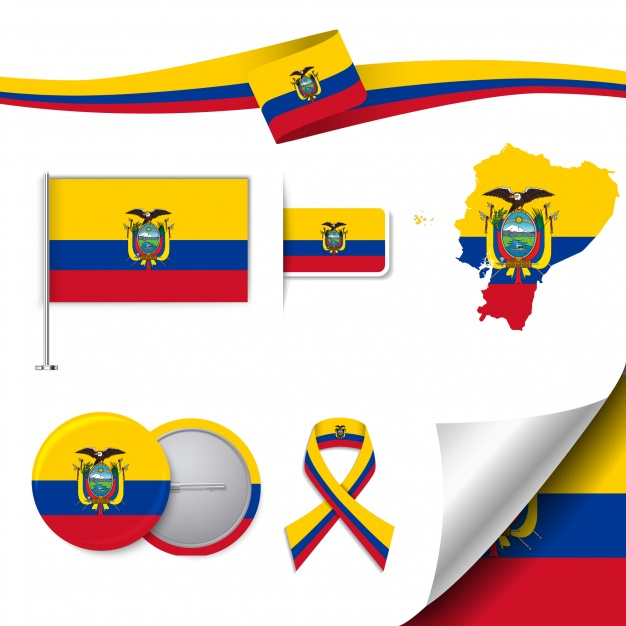 Stationery elements collection with the flag of ecuador.