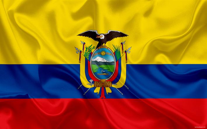 Download wallpapers Ecuadorian flag, Ecuador, South America, flag of.