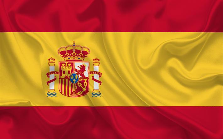 Download wallpapers Spanish flag, Spain, Europe, silk, flag of Spain.
