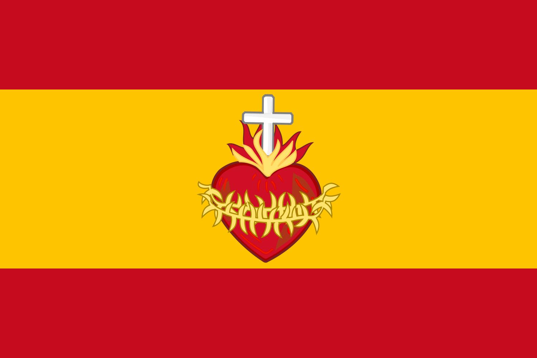 Bandera de España con el Sagrado Corazón según la consagración que.
