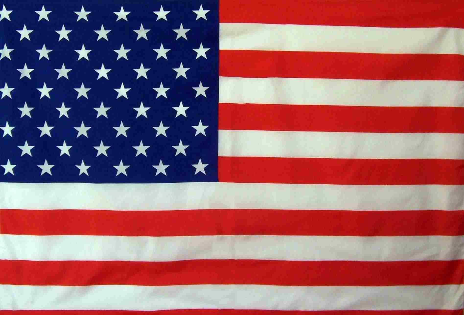 Bandera de los Estados Unidos de América en Raso de Alta Calidad.