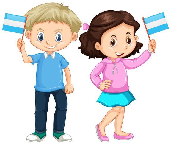 Boy and girl holding Nicaragua flag.