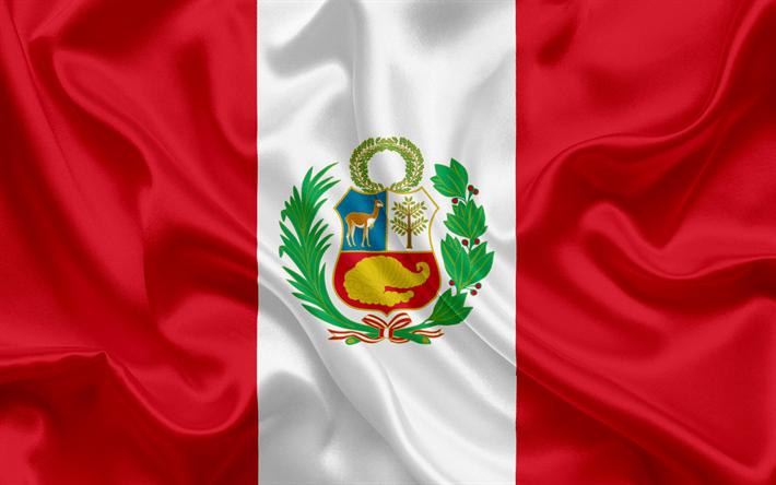 Download wallpapers Peruvian flag, national flag, Peru, silk texture.