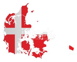 Diseño Bandera Mapa DE Dinamarca vectores en stock.