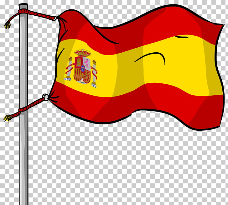 Bandera de ilustración de dibujos animados de España, línea.