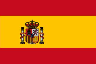 La bandera y el escudo nacionales de España.