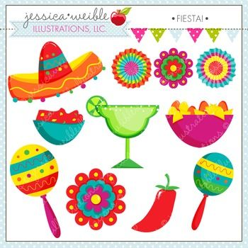 Fiesta Cute Digital Clipart, Cinco de Mayo Clip Art, Maracas.