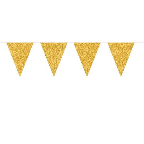 Banderín Triángulos Glitter Oro (6m).