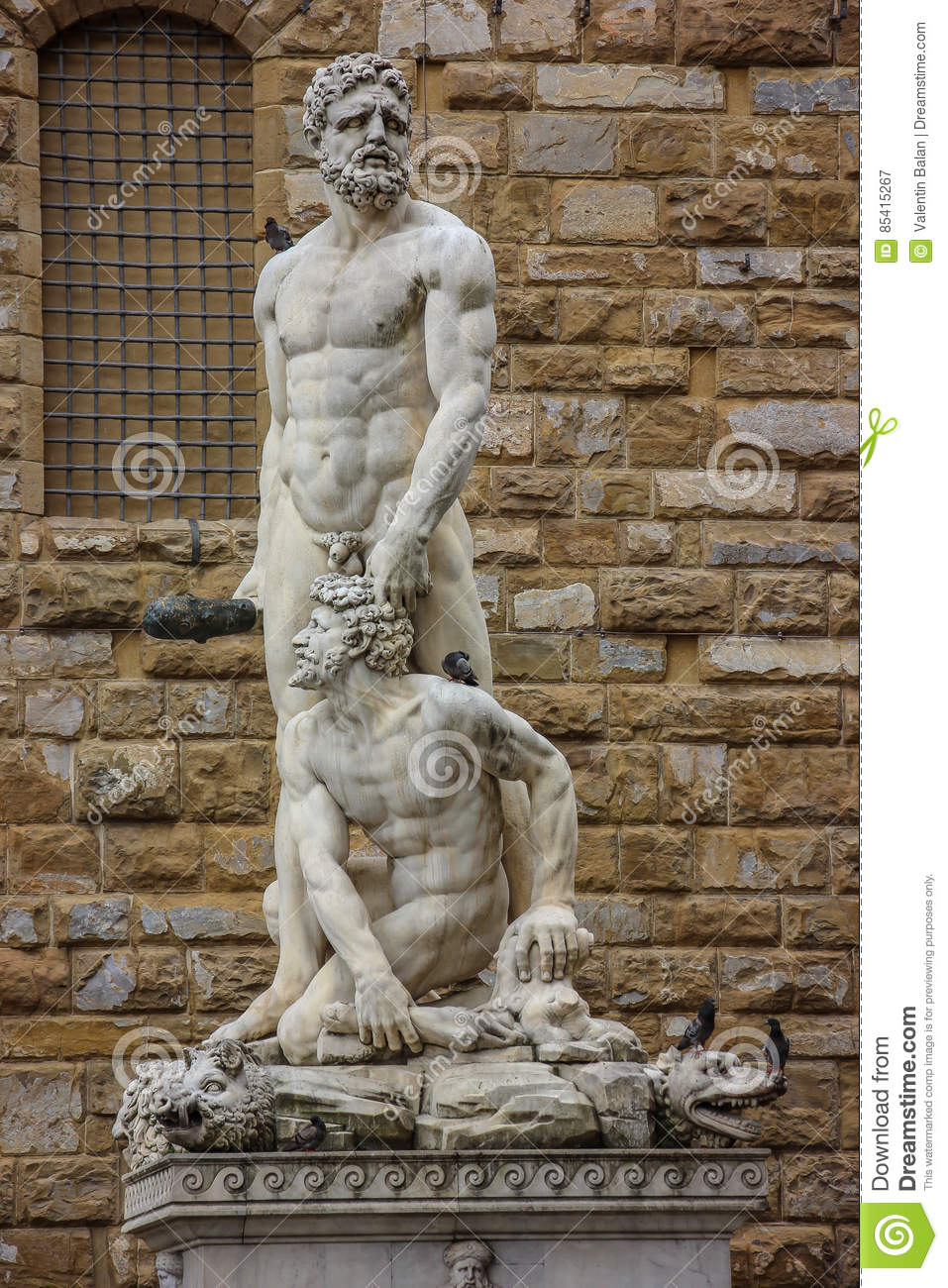 Statue Of Hercules And Cacus By Baccio Bandinelli. Stock Photo.