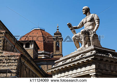 Stock Photograph of Statue of Giovanni delle Bande Nere at Piazza.