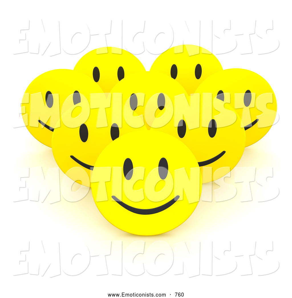 Clip Art of a Group of 3d Happy Smiley Faces Banding Together by.