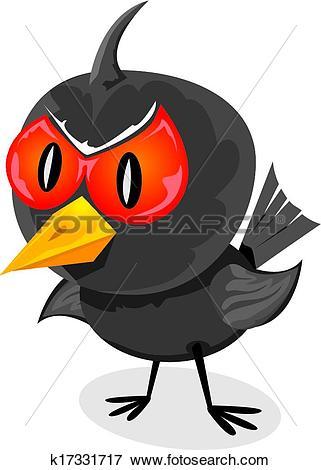 Clip Art of vector bad angry black raven bird. k17331717.