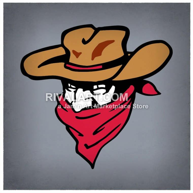 Of A Bandits Mascot Head In Color.