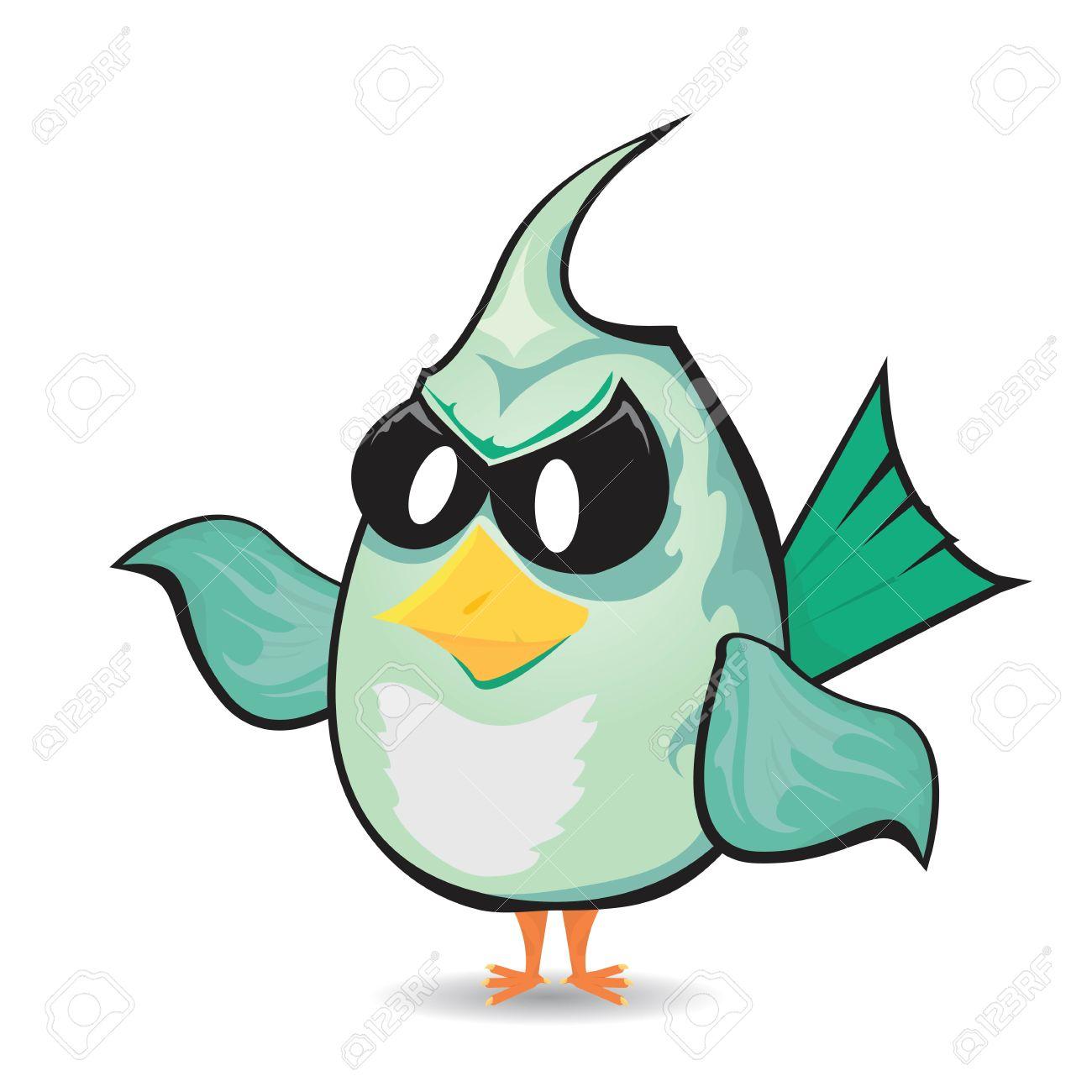 Vector Bad Bird. Funny Bird Character Royalty Free Cliparts.