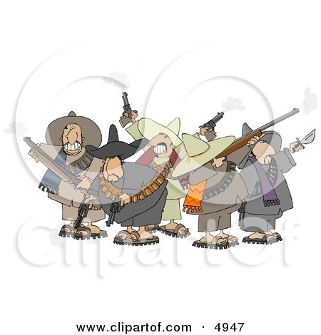 Banditos Shooting Pistols and Rifles Clipart by Dennis Cox #4183.
