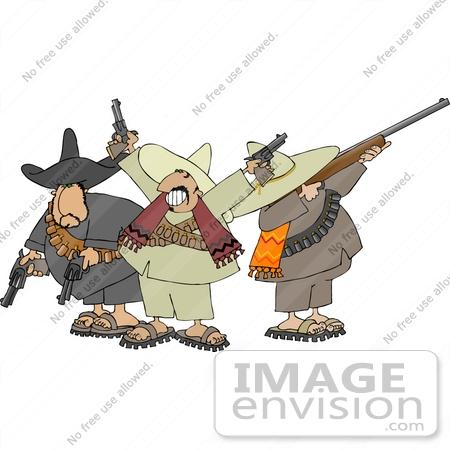 Three Banditos Clipart.