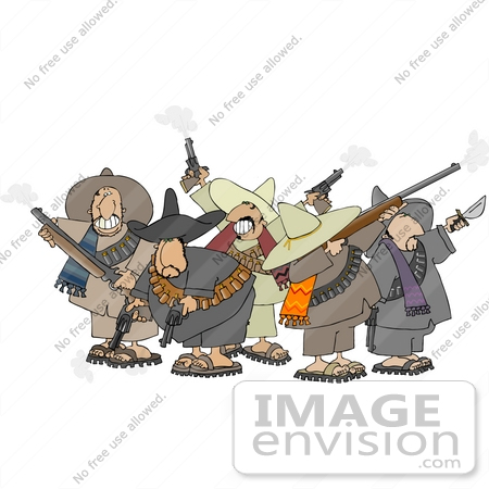 Group of Mexican Banditos With Weapons Clipart.