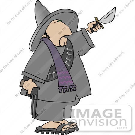 Bandito With a Gun and Knife Clipart.