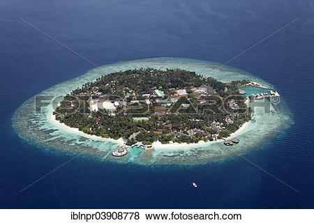 "Pictures of ""Aerial view, Bandos Island, North Male Atoll, Indian."