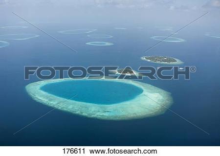 Stock Photography of Aerial view of Bandos and Kuda Bandos Islands.