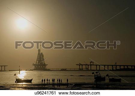 Stock Photography of Construction of Bandra Worli Sea Link.