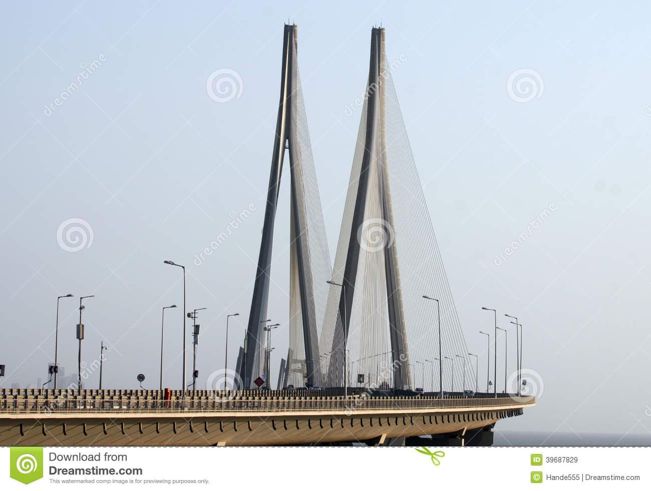 Bandra Worli Sea Link Bridge Of Mumbai Stock Photo.