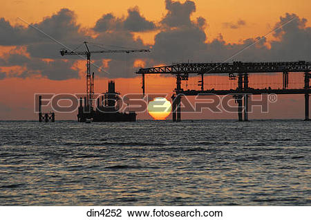 Stock Photo of Bandra Worli sea link project construction work in.