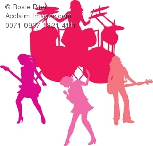 Silhouette Of An All Girl Rock Band Clip Art Picture.