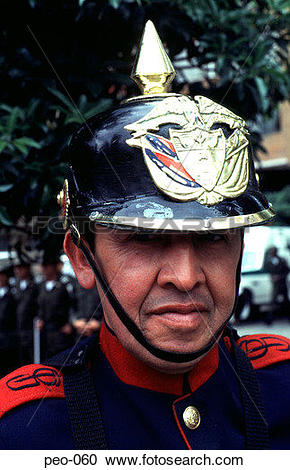 Stock Photography of Colombian Bandsman Wearing Helmet peo.