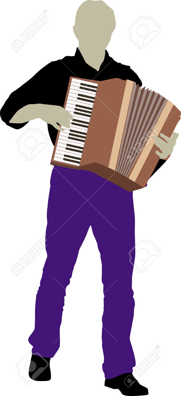 Silhouette Of Bandsman With Accordion Royalty Free Cliparts.