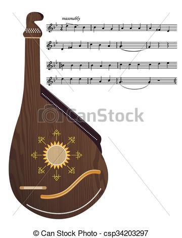 EPS Vectors of Ukrainian musical instrument.